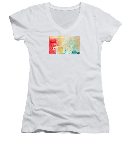 Watercolor Glassware Women's V-Neck T-Shirt (Junior Cut) by Bonnie Bruno