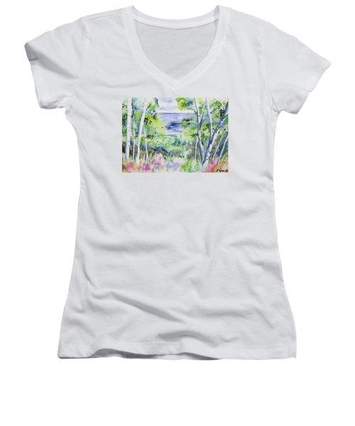 Watercolor - Lake Superior Impression Women's V-Neck