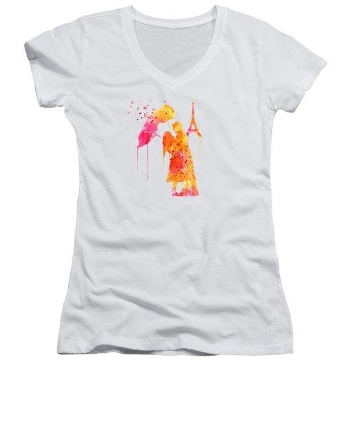 Watercolor Love Couple In Paris Women's V-Neck T-Shirt (Junior Cut) by Marian Voicu