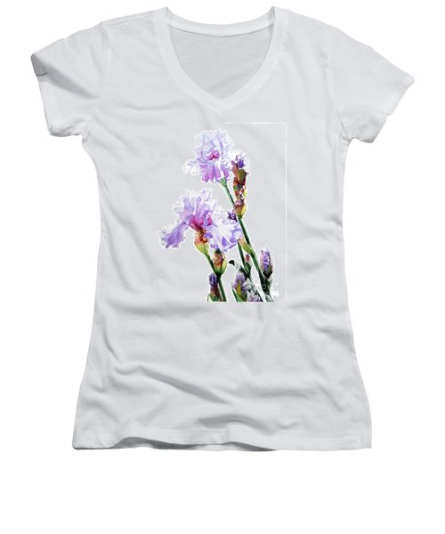 Watercolor Of A Tall Bearded Iris I Call Lilac Iris Wendi Women's V-Neck
