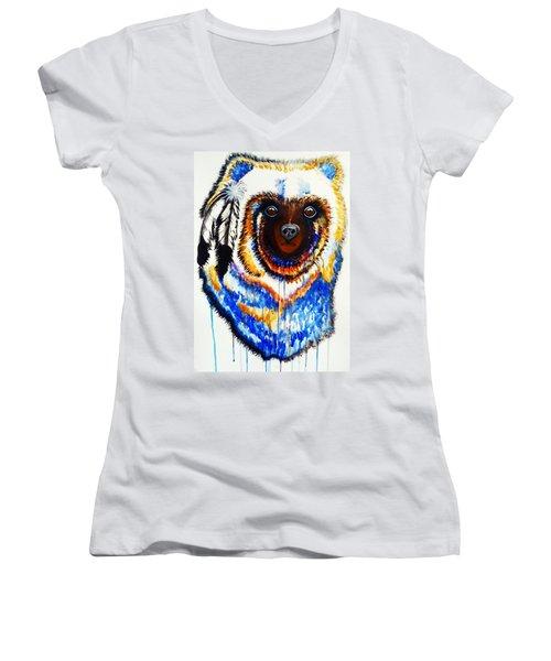 Watercolor Painting Of Spirit Of The Bear By Ayasha Loya Women's V-Neck T-Shirt (Junior Cut) by Ayasha Loya