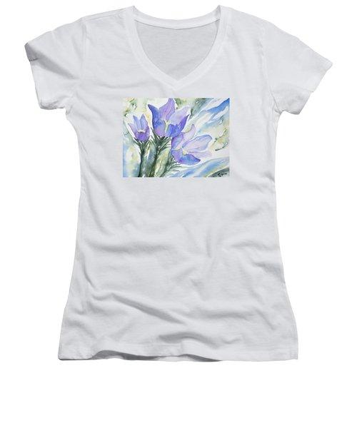 Watercolor - Pasque Flowers Women's V-Neck