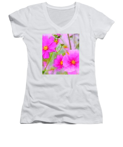Women's V-Neck T-Shirt (Junior Cut) featuring the painting Watercolor Pink Cosmos by Bonnie Bruno