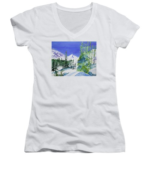 Watercolor - Sunny Winter Day In The Mountains Women's V-Neck