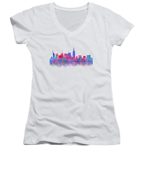 Watercolour Splashes New York City Skylines Women's V-Neck