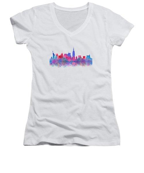 Watercolour Splashes New York City Skylines Women's V-Neck (Athletic Fit)