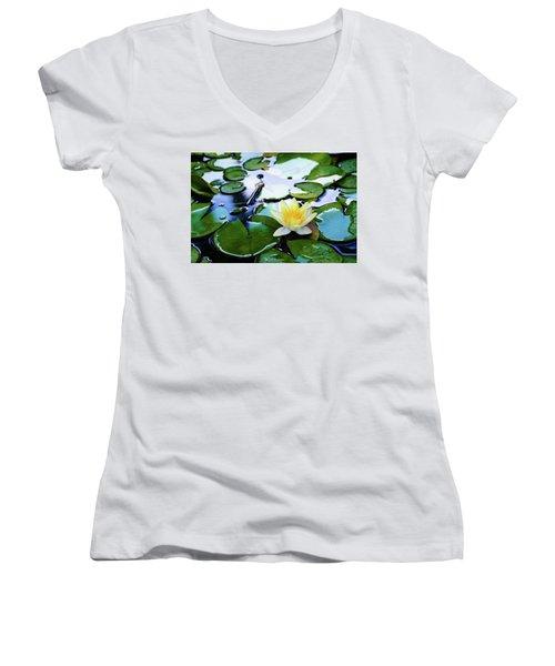Waterlilly On Blue Pond Women's V-Neck