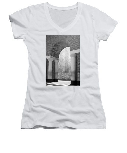 Waterwall And Arch 3 In Black And White Women's V-Neck (Athletic Fit)