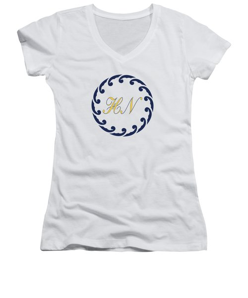 Wave Ring And Yellow Cipher Women's V-Neck (Athletic Fit)