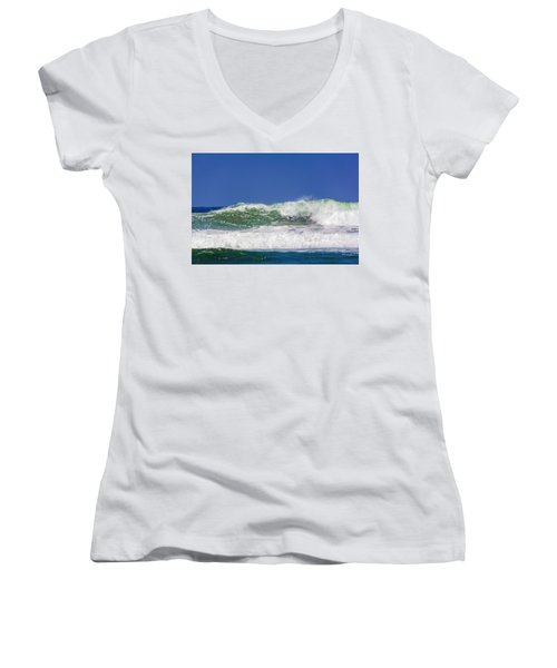 Wave Rolling To The Beach Women's V-Neck