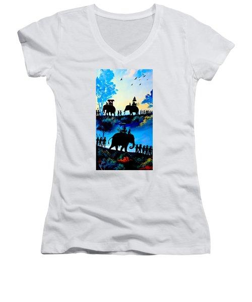 We March At Sunrise  Women's V-Neck T-Shirt (Junior Cut) by Ian Gledhill