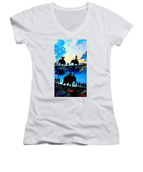 We March At Sunrise  Women's V-Neck (Athletic Fit)