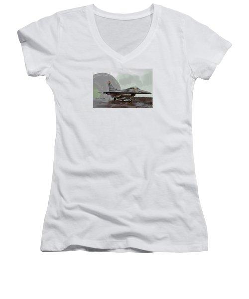 Weather Day 1274 Women's V-Neck T-Shirt (Junior Cut) by Walter Chamberlain
