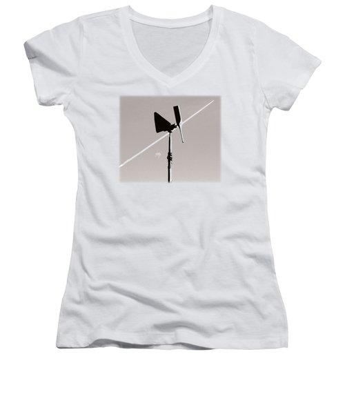 Weather Vane Women's V-Neck T-Shirt (Junior Cut) by Linda Hollis