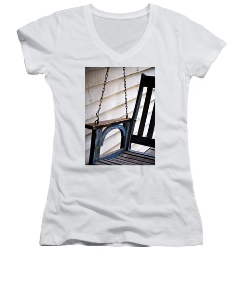 Weathered Porch Swing Women's V-Neck T-Shirt (Junior Cut) by Debbie Karnes