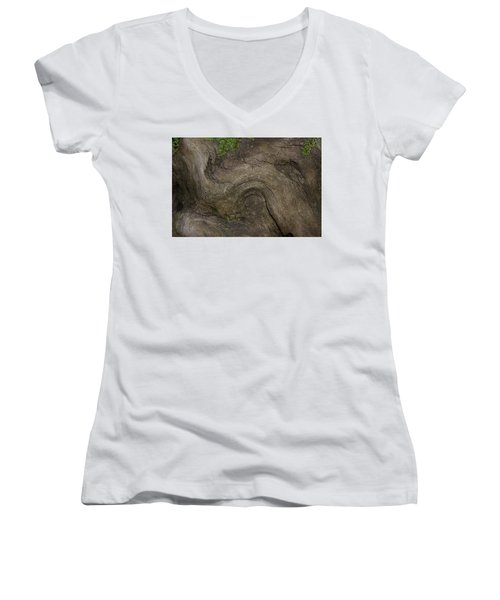 Women's V-Neck T-Shirt (Junior Cut) featuring the photograph Weathered Tree Root by Mike Eingle