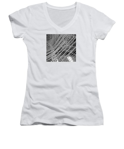 Web Wired Women's V-Neck T-Shirt (Junior Cut) by Cathy Dee Janes