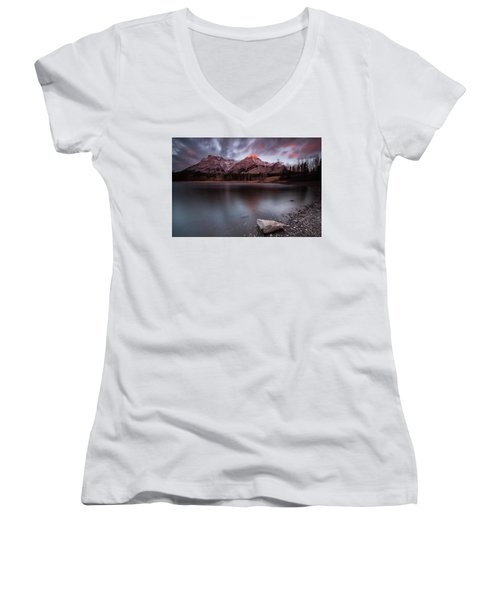 Wedge Pond Dawn Women's V-Neck T-Shirt