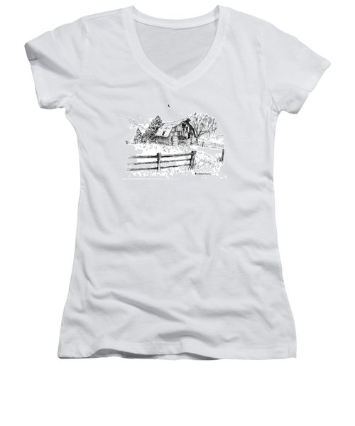 Weeping Willow And Barn One Women's V-Neck