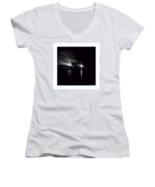 Welcome Beach Night Sky Women's V-Neck T-Shirt (Junior Cut) by Elaine Hunter