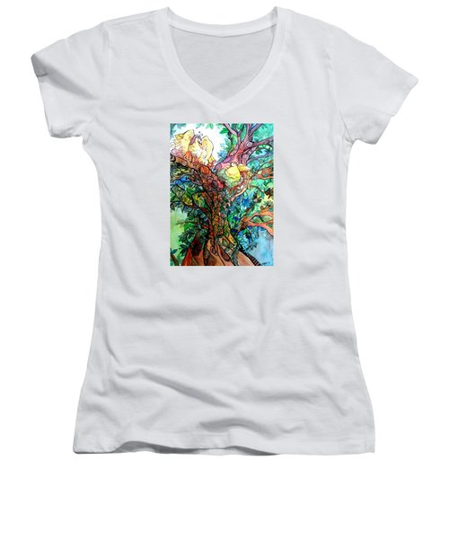 Welcome Home Women's V-Neck T-Shirt (Junior Cut) by Claudia Cole Meek