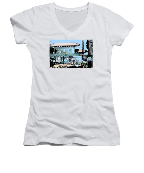 Welcome To Chinatown Sign Blue Women's V-Neck T-Shirt (Junior Cut) by Marianne Dow