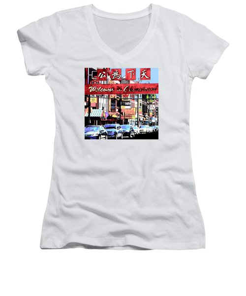Welcome To Chinatown Sign Red Women's V-Neck T-Shirt (Junior Cut) by Marianne Dow