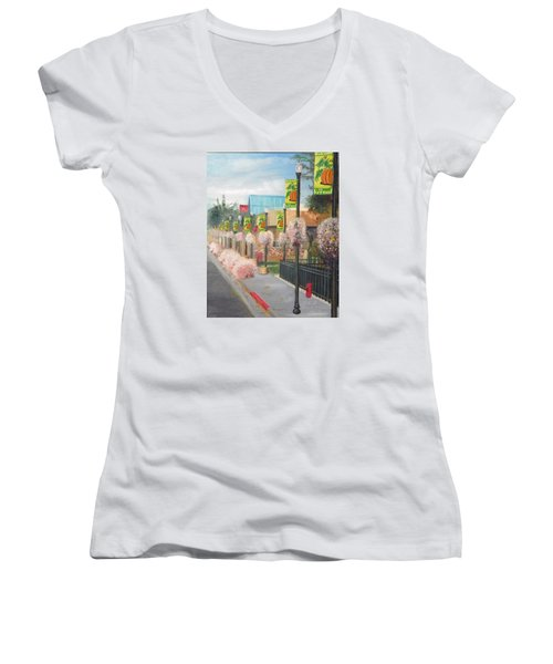 Welcome To Vernal Women's V-Neck T-Shirt (Junior Cut) by Sherril Porter