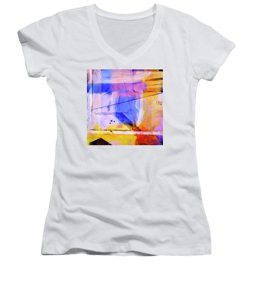 Women's V-Neck T-Shirt (Junior Cut) featuring the painting Welder by Dominic Piperata