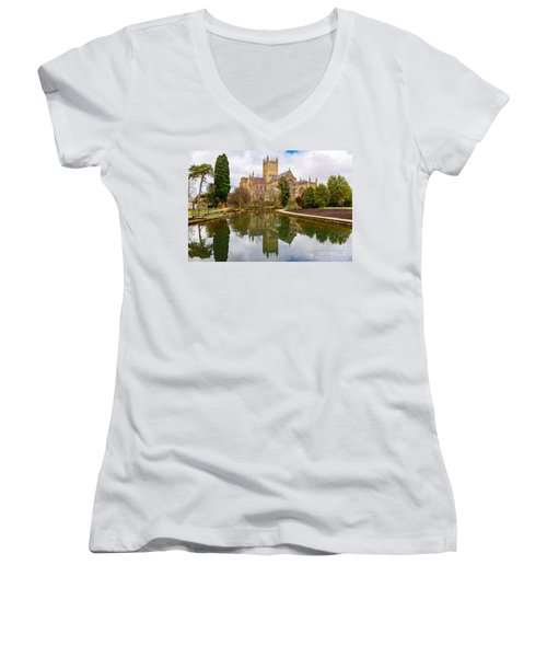 Wells Cathedral Women's V-Neck T-Shirt (Junior Cut) by Colin Rayner
