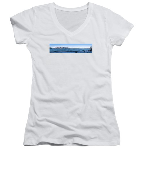 Women's V-Neck T-Shirt (Junior Cut) featuring the photograph West Almanor Blue by Jan Davies