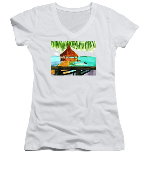 West End Roatan Women's V-Neck T-Shirt (Junior Cut) by Donna Walsh