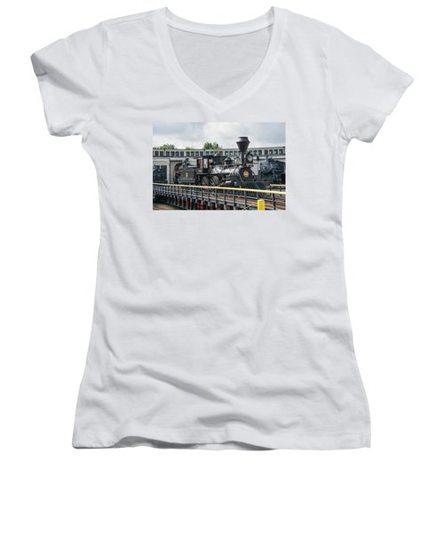 Western And Atlantic 4-4-0 Steam Locomotive Women's V-Neck T-Shirt (Junior Cut) by John Black