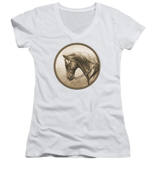 Western Pleasure Quarter Horse In Sepia Women's V-Neck