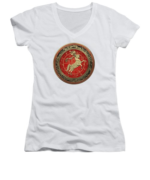 Western Zodiac - Golden Aries -the Ram On White Leather Women's V-Neck (Athletic Fit)