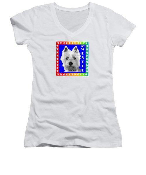 Westie Tshirt Women's V-Neck T-Shirt (Junior Cut)
