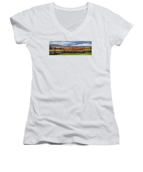 Westmore Overlook Women's V-Neck T-Shirt (Junior Cut) by Tim Kirchoff