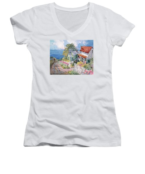 Westport By The Sea Women's V-Neck T-Shirt (Junior Cut) by Joyce Hicks