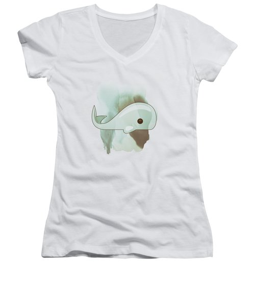 Whale Art - Bright Ocean Life Pastel Color Artwork Women's V-Neck T-Shirt (Junior Cut) by Wall Art Prints