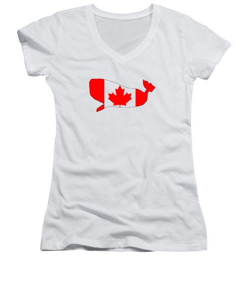 Whale Canada Women's V-Neck T-Shirt (Junior Cut) by Mordax Furittus