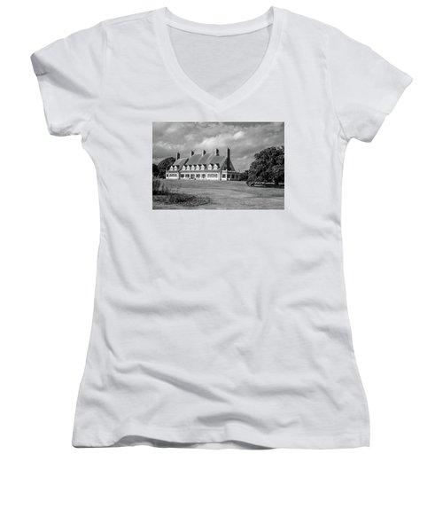 Women's V-Neck T-Shirt (Junior Cut) featuring the photograph Whalehead Club by David Sutton