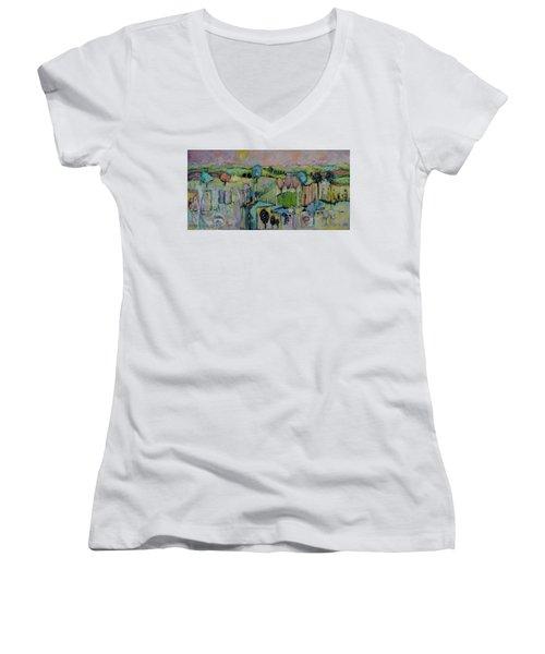 What A Bird Sees Women's V-Neck T-Shirt (Junior Cut) by Sharon Furner