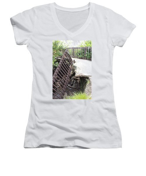 Women's V-Neck T-Shirt (Junior Cut) featuring the photograph What Storms Can Do by Marie Neder
