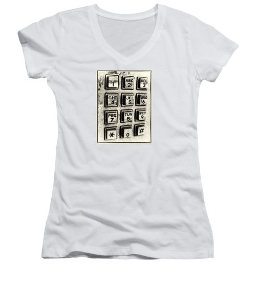 Women's V-Neck T-Shirt (Junior Cut) featuring the photograph What's Your Number? by Caitlyn  Grasso