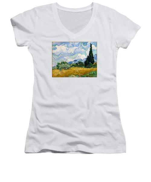 Women's V-Neck featuring the painting Wheatfield With Cypresses by Van Gogh