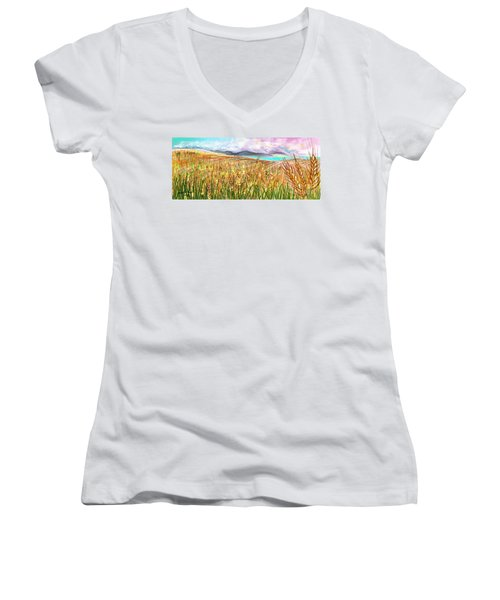 Wheat Landscape Women's V-Neck T-Shirt