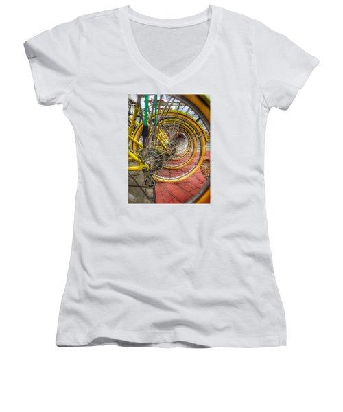Wheels Within Wheels Women's V-Neck T-Shirt (Junior Cut) by Mark David Gerson