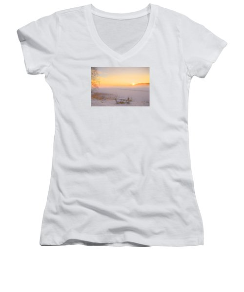 Women's V-Neck T-Shirt (Junior Cut) featuring the painting When Joy Fills The Heart by Rose-Maries Pictures