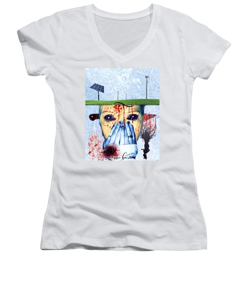 When They Take The Mind Women's V-Neck T-Shirt (Junior Cut) by Vennie Kocsis