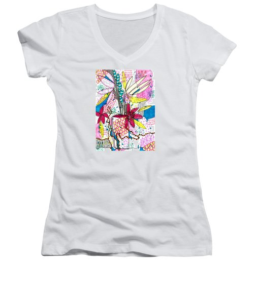Women's V-Neck T-Shirt (Junior Cut) featuring the mixed media Where Did You Put My Cup? by Lisa Noneman